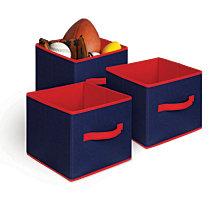 3 Pack Textured Bins, Blue