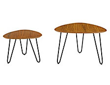 Mid-Century Hairpin Leg Guitar Pick Nesting Coffee Table Set - Walnut