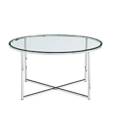 "36"" Modern Coffee Table with X-Base - Glass/Chrome"