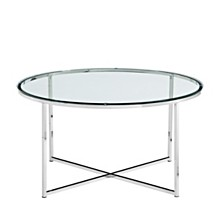 """36"""" Coffee Table with X-Base - Glass/Chrome"""
