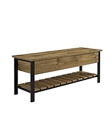 """48"""" Open-Top Storage Bench with Shoe Shelf - Barnwood"""