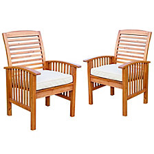 Acacia Wood Outdoor Patio Chairs with Cushions, set of 2 - Brown