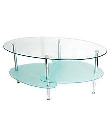 Glass Oval Living Room Metal Coffee Table