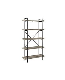 "68"" Urban Industrial 5-Shelf Mixed Material Wood and Metal Pipe Bookcase - Driftwood"