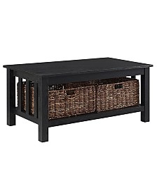 "40"" Wood Storage Coffee Table with Totes - Black"