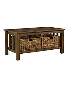 """40"""" Traditional Wood Storage Coffee Table with Totes - Dark Walnut"""