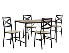 5-Piece Angle Iron Wood Dining Set - Driftwood