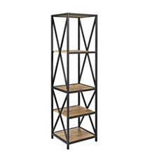 "61"" Tall X-Frame Metal and Wood Media Bookshelf - Barnwood"