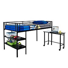 Premium Metal Twin Low Loft Bed with Desk - Black