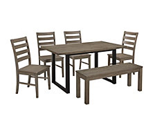 6-Piece Rustic Farmhouse Wood Kitchen Dining Set - Aged Grey