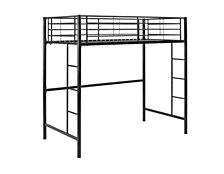 Premium Metal Twin Loft Bed - Black