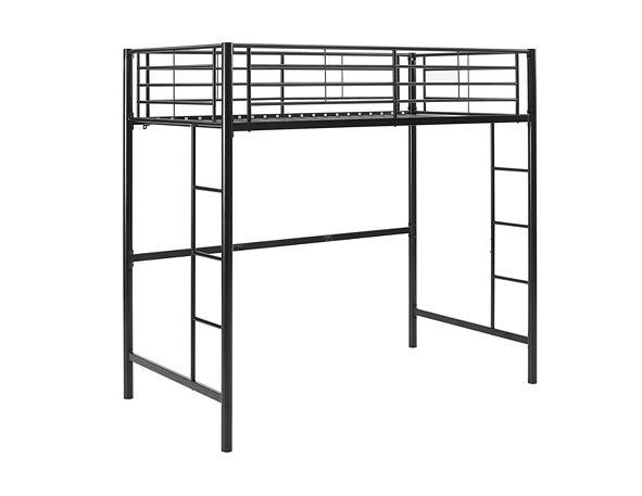 Walker Edison Premium Metal Twin Loft Bed - Black
