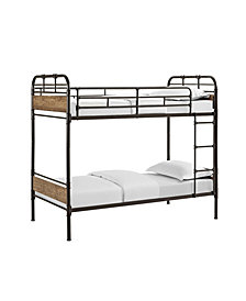 Twin over Twin Metal Wood Bunk Bed - Black