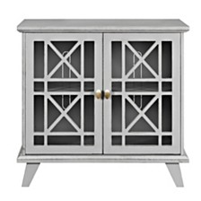 "32"" Fretwork Accent Storage Console - Gray"