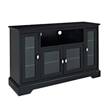 "52"" Wood Highboy TV Media Stand Storage Console - Black"