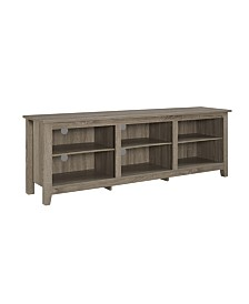 "70"" Wood Media TV Stand Storage Console - Driftwood"