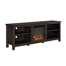 "70"" Wood Media TV Stand Console with Fireplace - Espresso"