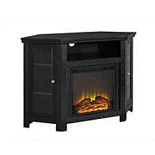 "48"" Classic Traditional Wood Corner Fireplace Media TV Stand Console - Black"