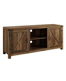 """58"""" Barn Door TV Stand with Side Doors - Rustic Oak"""