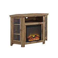 "48"" Classic Traditional Wood Corner Fireplace Media TV Stand Console - Barnwood"