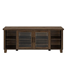 """58"""" Classic Traditional Rustic TV Stand Console with Middle Doors and Shelving - Dark Walnut"""