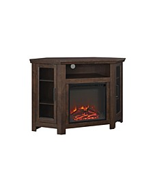"48"" Classic Traditional Wood Corner Fireplace Media TV Stand Console - Traditional Brown"