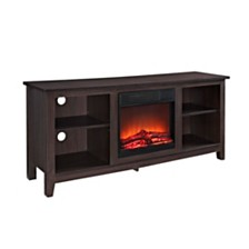 """58"""" Wood TV Stand Console with Fireplace - Espresso"""