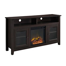 "58"" Wood Highboy Fireplace Media TV Stand Console - Espresso"