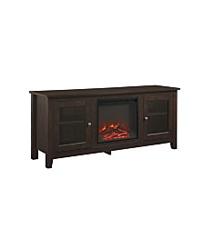 "58"" Wood Media TV Stand Console with Fireplace - Traditional Brown"