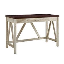 "46"" A-Frame Desk, White Oak Base/Traditional Brown Top"