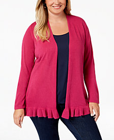 Karen Scott Plus Size Ruffled-Hem Cardigan Sweater, Created for Macy's