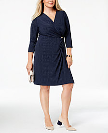 Charter Club Plus Size Dot-Print Faux Wrap Dress, Created for Macy's