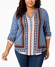 Style & Co Plus Size Mixed-Print Shirttail Hem Blouse, Created for Macy's