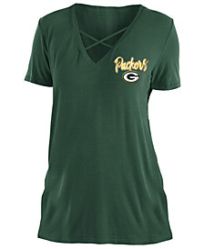 5th & Ocean Women's Green Bay Packers Cross V T-Shirt