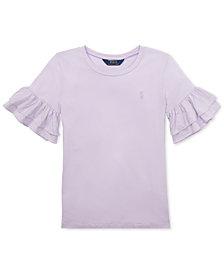 Polo Ralph Lauren Big Girls Ruffled-Sleeve Crew-Neck T-Shirt