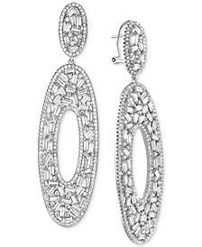 Tiara Cubic Zirconia Oval Drop Earrings in Sterling Silver
