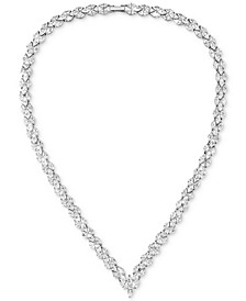 "Cubic Zirconia Marquise Chevron 17"" Statement Necklace in Sterling Silver"