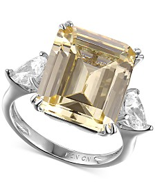 Cubic Zirconia and Canary Yellow Statement Ring in Sterling Silver