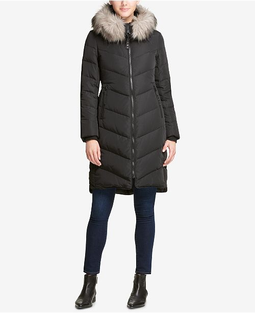 7ad1d331a DKNY Faux-Fur-Trim Hooded Puffer Coat, Created for Macy's ...