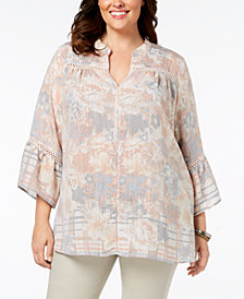 John Paul Richards Plus Size Bell-Sleeve Tunic