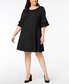 John Paul Richard Plus Size Ruffle-Sleeve Dress