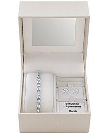 Simulated Blue Topaz Slider Bracelet & Cubic Zirconia Stud Earrings Set In Fine Silver-Plate, December Birthstone