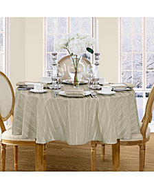 "Elrene Denley Stripe Gray 70"" Round Tablecloth"