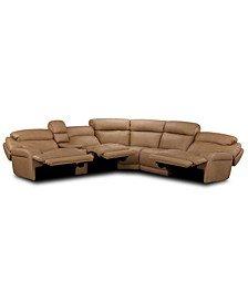 Daventry 6-Pc. Leather Sectional Sofa With 3 Power Recliners, Power Headrests, Console And USB Power Outlet