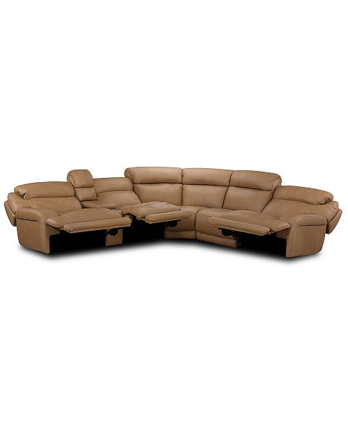 Furniture Daventry 6 Pc Leather Sectional Sofa With 3 Recliners Headrests