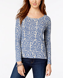 Tommy Hilfiger Cotton Printed Long-Sleeve T-Shirt, Created for Macy's