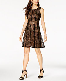 Connected Petite Lace Fit & Flare Dress