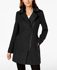 Maralyn & Me Juniors' Faux-Fur-Collar Asymmetrical Coat