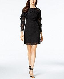 Nanette by Nanette Lepore Ruffled Clip Jacquard Shift Dress, Created for Macy's