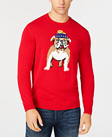 Club Room Men's Bulldog Skier Graphic Sweater, Created for Macy's